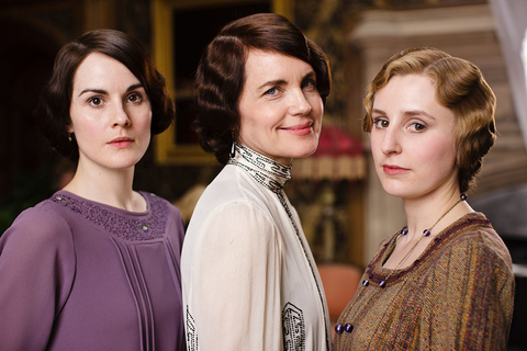 DOWNTON ABBEY, (from left): Michelle Dockery, Elizabeth McGovern, Laura Carmichael,(Season 4), 2010-