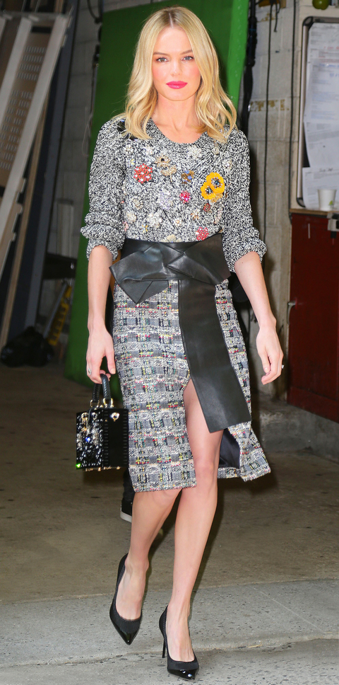 Kate Bosworth wears a sequin dress in NYC