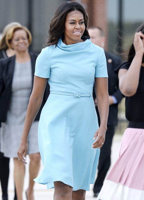 Michelle Obama wears Carolina Herrera to greet Pope Francis