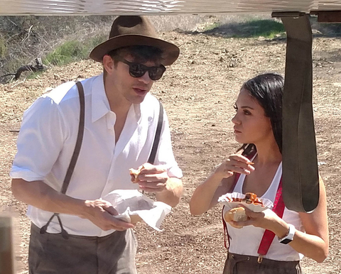Ashton Kutcher and Mila Kunis wear lederhosen