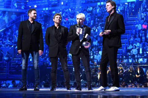 (L-R) Simon Le Bon, Roger Taylor, Nick Rhodes and John Taylor of Duran Duran receive the Video Visionary Award on stage during the MTV EMA's 2015 at the Mediolanum Forum on October 25, 2015 in Milan, Italy.