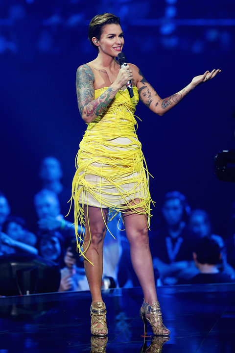 Co-hosts actress Ruby Rose appears on stage during the MTV EMA's 2015 at the Mediolanum Forum on October 25, 2015 in Milan, Italy.