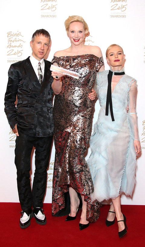 Jefferson Hack, Gwendoline Christie and Kate Bosworth pose in the Winners Room at the British Fashion Awards 2015 at London Coliseum on November 23, 2015 in London, England.