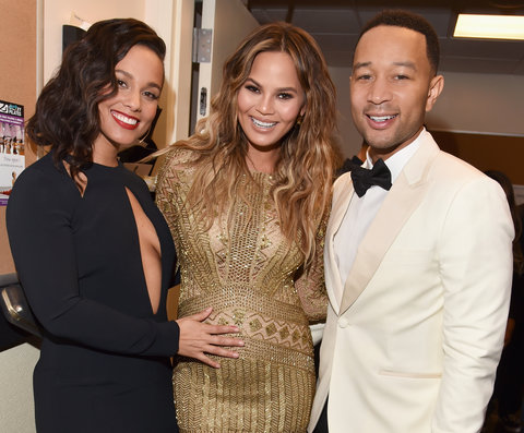 Singer Alicia Keys, model Chrissy Teigen and singer John Legend pose backstage during 'Sinatra 100: An All-Star GRAMMY Concert' celebrating the late Frank Sinatra's 100th birthday at the Encore Theater at Wynn Las Vegas on December 2, 2015 in Las Vegas,