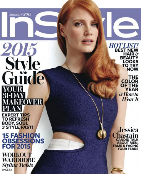 January, Jessica Chastain; 2015 Covers