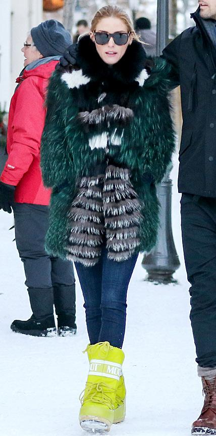 Olivia Palermo in Tenica Moon Boots