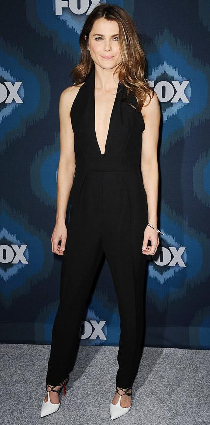 Keri Russell in a black jumpsuit