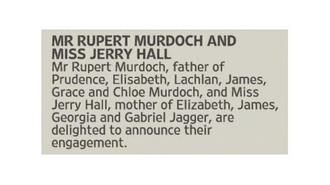Jerry Hall and Rupert Murdoch engagement announcement