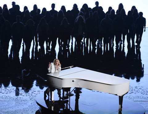 Singer Lady Gaga performs on stage at the 88th Oscars on February 28, 2016 in Hollywood, California.