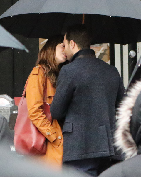 Jamie Dornan and Dakota Johnson film scenes for 'Fifty Shades Darker' in the rain in Vancouver. The two shared a kiss during the scene and then broke out in a laughing fit. Vancouver, Canada - Tuesday March 1, 2016.