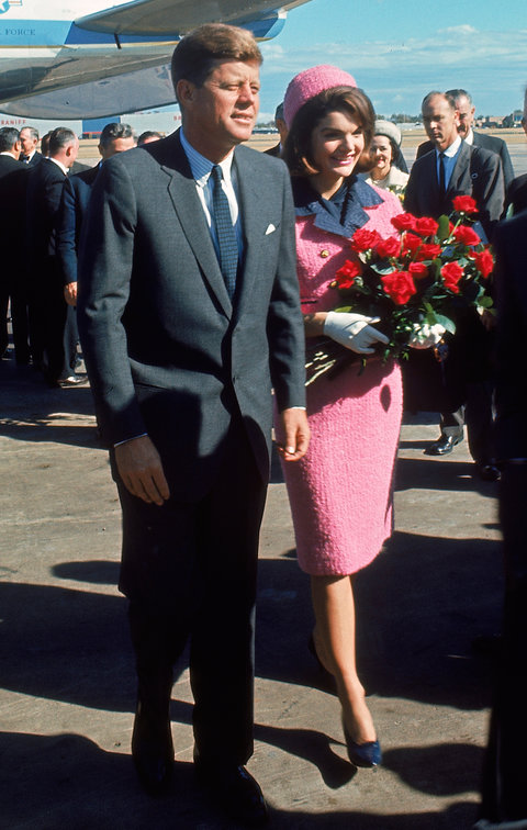 TEXAS, UNITED STATES - NOVEMBER 22:  President John F. Kennedy and wife Jackie arriving at Love Field during campaign tour on day of his assassination.  (Photo by Art Rickerby/The LIFE Picture Collection/Getty Images)