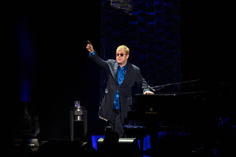 Elton John performs during a fundraiser for Democratic presidential candidate Hillary Clinton at Radio City Music Hall on March 2, 2016 in New York City. Clinton won seven states in yesterday's Super Tuesday.