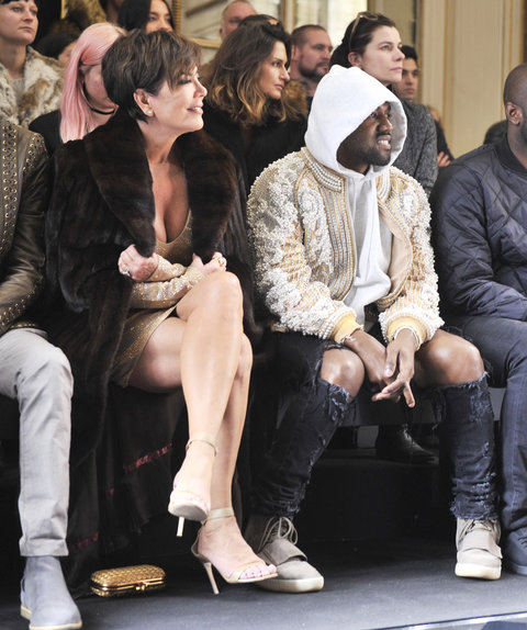 kris jenner and kanye west at Balmain in Paris Fashion Week 2016