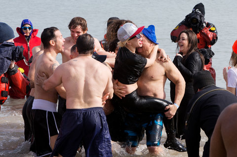 Lady Gaga takes part in the 16th Annual Polar Plunge at North Avenue Beach on March 6, 2016 in Chicago, Illinois.