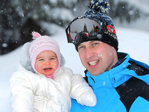 Prince William, Duke of Cambridge and Princess Charlotte, enjoy a short private skiing break on March 3, 2016 in the French Alps, France.