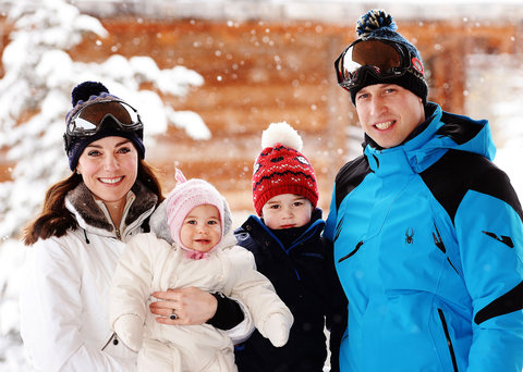 Catherine, Duchess of Cambridge and Prince William, Duke of Cambridge, with their children, Princess Charlotte and Prince George, enjoy a short private skiing break on March 3, 2016 in the French Alps, France