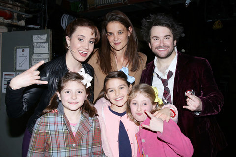 Katie Holmes, Suri Cruise and a few friends meet the cast of the Broadway musical School Of Rock at the Winter Garden Theatre.