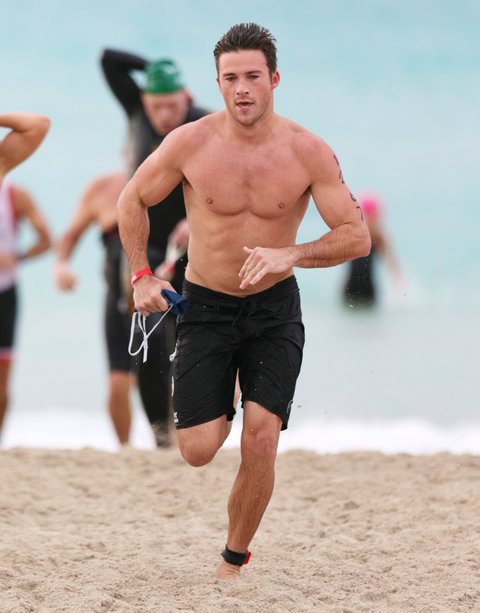 Scott Eastwood - finishes the swim portion of the South Beach Triathlon in Miami