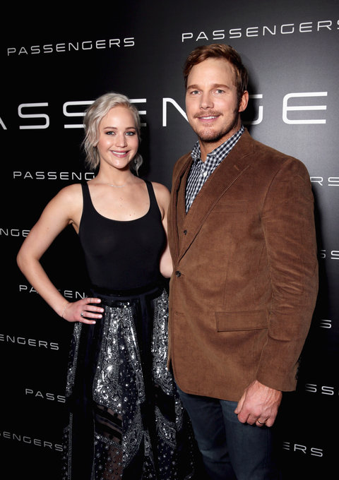 Actress Jennifer Lawrence (L) and actor Chris Pratt attend CinemaCon 2016 An Evening with Sony Pictures Entertainment: Celebrating the Summer of 2016 and Beyond at The Colosseum at Caesars Palace during CinemaCon, the official convention of the National