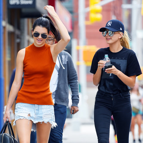 Kendall Jenner and Hailey Baldwin walk together for breakfast at The Smile restaurant in East Village on AUGUST 31, 2015 in New York, New York.