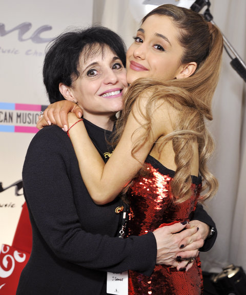 Joan Grande (L) and singer Ariana Grande pose in the Music Choice Lounge backstage at the 2013 American Music Awards at Nokia Theatre L.A. Live on November 24, 2013 in Los Angeles, California.