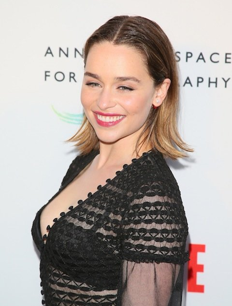 Actress Emilia Clarke attends the opening of REFUGEE Exhibit at Annenberg Space For Photography.