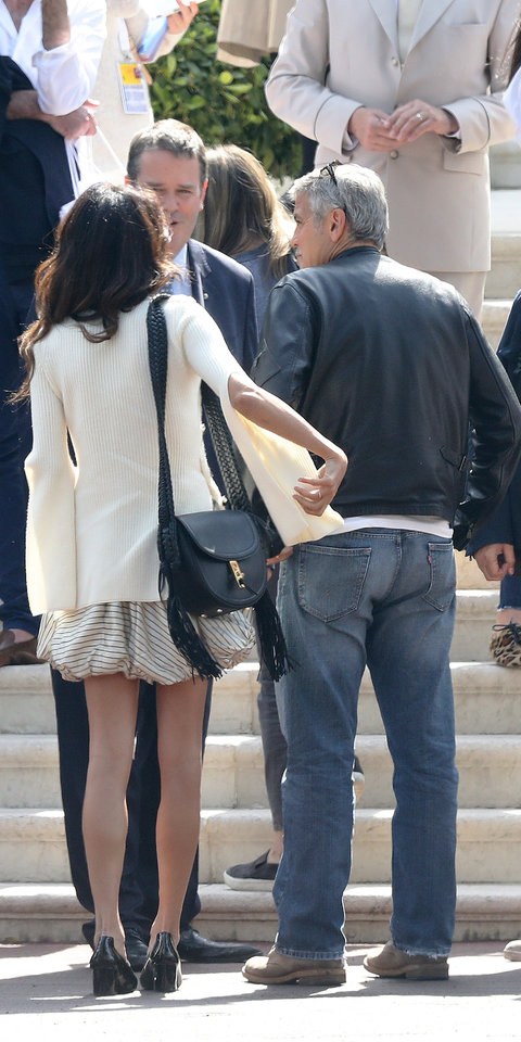 George Clooney and his wife Amal Alamuddin at the Eden Roc Hotel in Cap d Antibes in the south of France