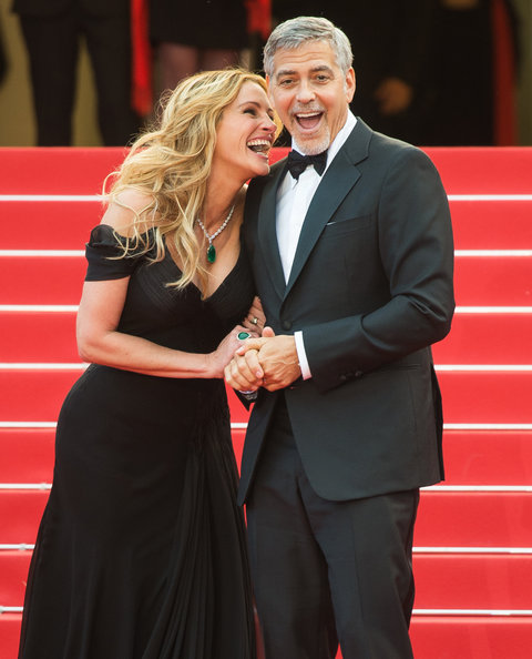 Julia roberts wows in black dress at cannes money monster premiere julia roberts and george clooney money monster 69th cannes film festival voltagebd Choice Image
