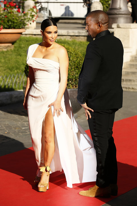 Kim Kardashian and Kanye West attend the 'La Traviata' Premiere at Teatro Dell'Opera on May 22, 2016 in Rome, Italy.