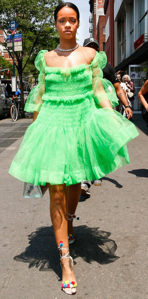 Rihanna let her inner princess out as she stopped into Starbucks to get her caffeine fix while wearing a bright green tutu, which happened to be the same shade of green that Starbucks uses in its logo, before she headed to the recording studio.