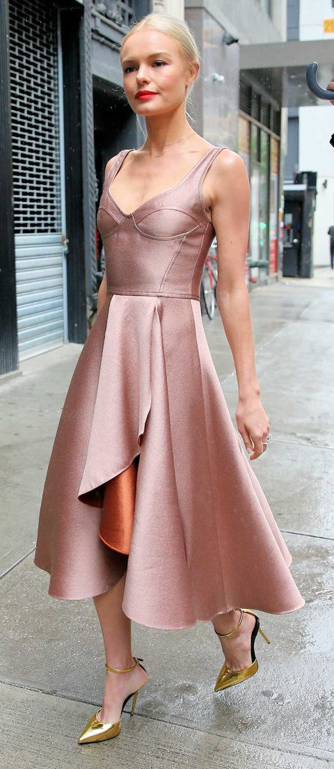 Actress Kate Bosworth, wearing a princess Jason Wu dress and gold clutch, attends Aczone launch in New York City on June 3, 2016.