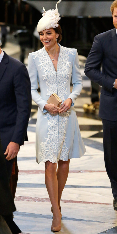 Kate Middleton Powder Blue Coat and Cream Fascinator ...