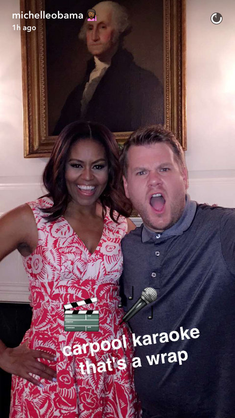 Michelle Obama James Corden Snapchat - Embed 2016