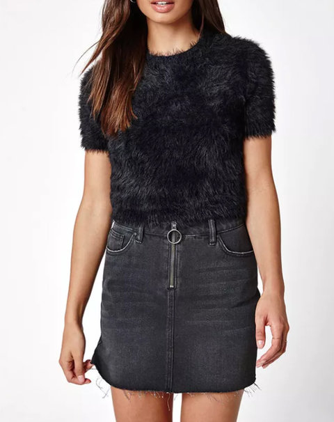 Kendall + Kylie Fuzzy Cropped Sweater