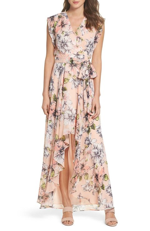 Floral Ruffle High Low Maxi Dress