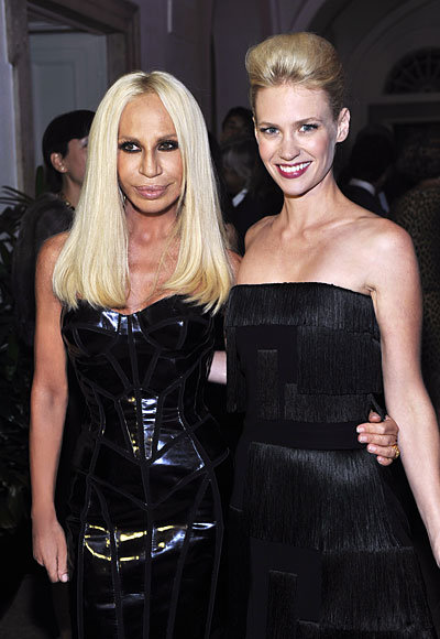 Milan Fashion Week - Versace Show - Donatella Versace and January Jones