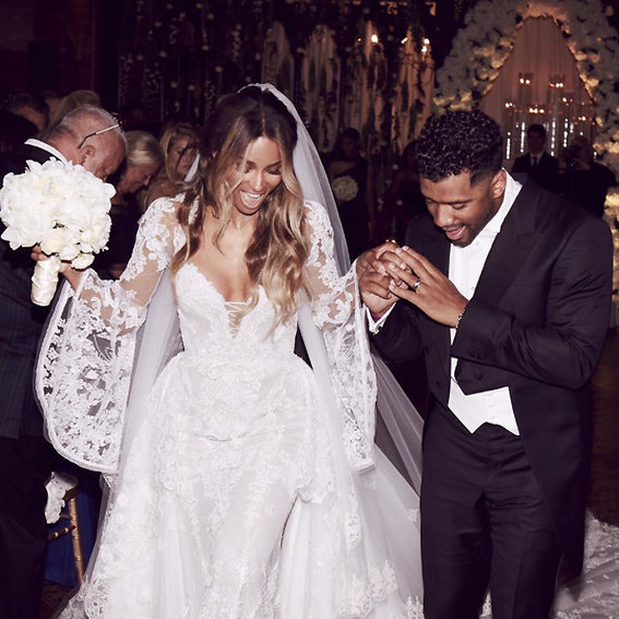 Ciara's Bridesmaids Wore These Custom Gowns for Her Wedding to Russell Wilson