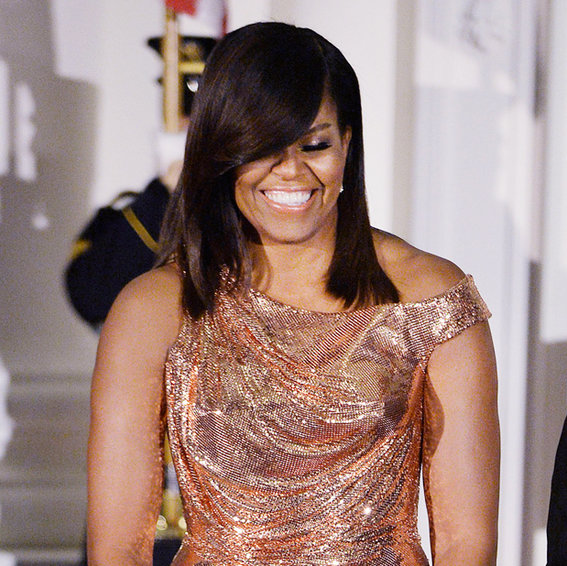 Michelle Obama's Final State Dinner Calls for Rose Gold Atelier Versace