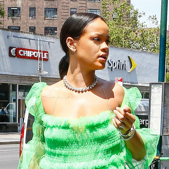 Rihanna Wears a Frothy Green Tutu-Inspired Dress While Grabbing Coffee