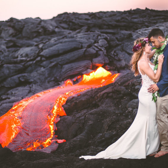 This Couple's Wedding Photos Are Super Hot—Literally—Thanks to Lava