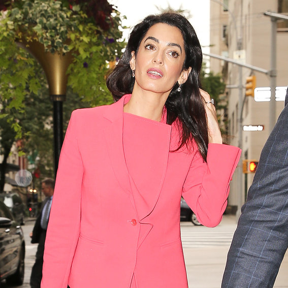 Amal Clooney Is a Total #Girlboss, Dons a Bright Pink Power Suit on the Streets of N.Y.C.