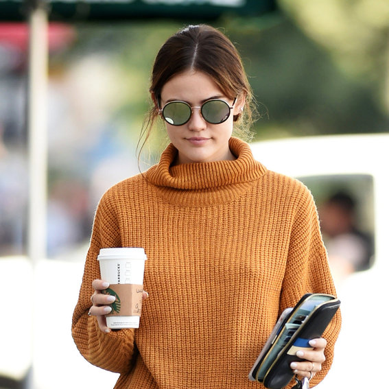 Lucy Hale's Chunky Marigold Sweater Is the Answer to Our Fall Fashion Dreams