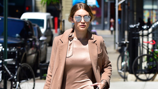 d2ff4bf36c72 Gigi Hadid Wears Nude Monochrome Tie Dress