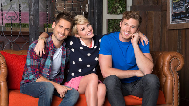 "© 2014 Disney Enterprises, Inc. All rights reserved.BABY DADDY - Freeform's ""Baby Daddy"" stars Jean-Luc Bilodeau as Ben, Chelsea Kane as Riley and Derek Theler as Danny. (Freeform/Craig Sjodin)"