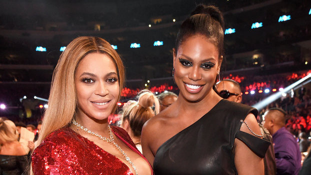LOS ANGELES, CA - FEBRUARY 12: Recording artist Beyoncé (L) and actor Laverne Cox during The 59th GRAMMY Awards at STAPLES Center on February 12, 2017 in Los Angeles, California.  (Photo by Kevin Mazur/Getty Images for NARAS)
