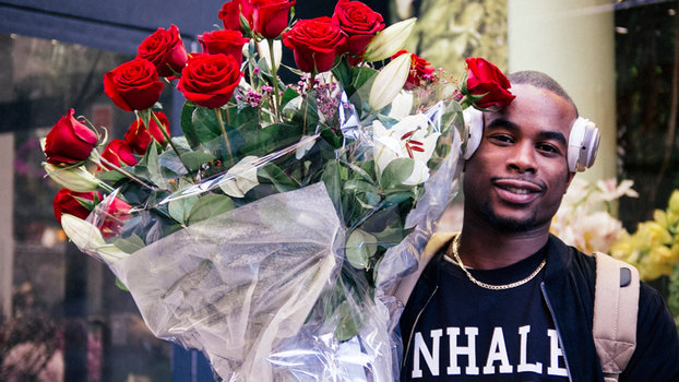 Alex (24) who gets flowers for his lady once a week got a large bouquet of red roses for Valentine's Day. He says getting flowers for her is a fresh display of his love for her.