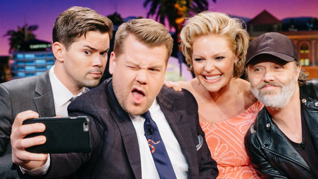 """Andrew Rannells, Katherine Heigl, and Lars Ulrich chat with James Corden during """"The Late Late Show with James Corden,"""" Tuesday, February 14, 2017 (12:35 PM-1:37 AM ET/PT) On The CBS Television Network.  Photo: Terence Patrick/CBS ©2017 CBS Broadca"""