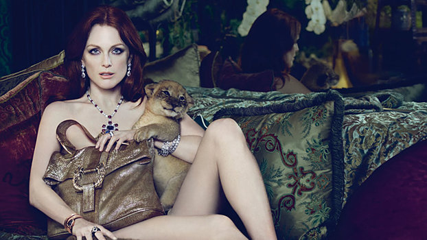 Julianne Moore Poses With Lions In Newest Bulgari Ads