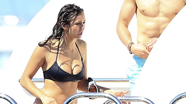 Nina Dobrev Wears A Black Bikini On A Yacht In Ibiza