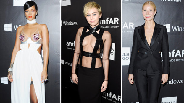 Rihanna, Miley Cyrus, and Gwyneth Paltrow at amfAR LA Inspiration Gala